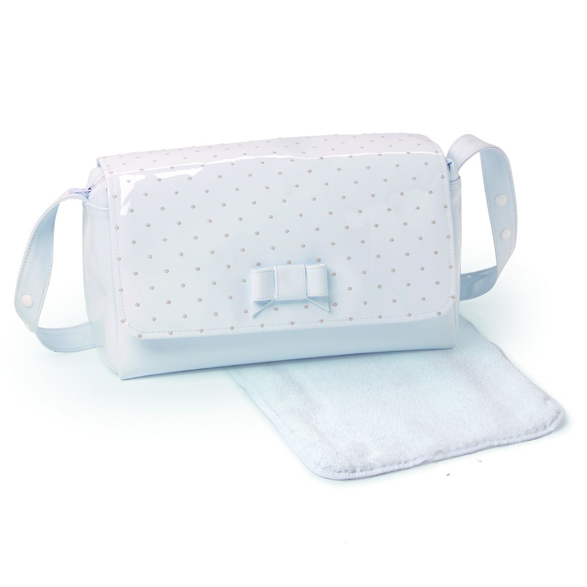 d8a7f21ed8 PASITO A PASITO CHANGING BAG WHITE LEATHER – EMBROIDERED POLKA DOT ...
